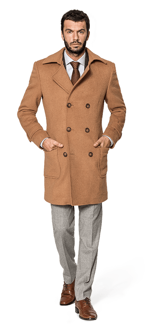 Beige double breasted Wool Coat