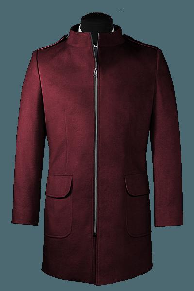Manteau mauve avec col droit