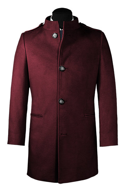 Purple stand up collar Coat