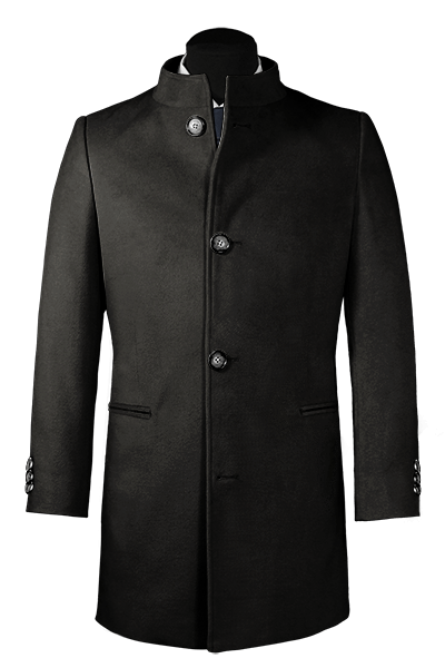 Black stand up collar Wool Coat