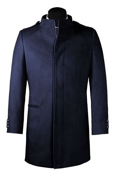 Blue stand up collar Wool Coat