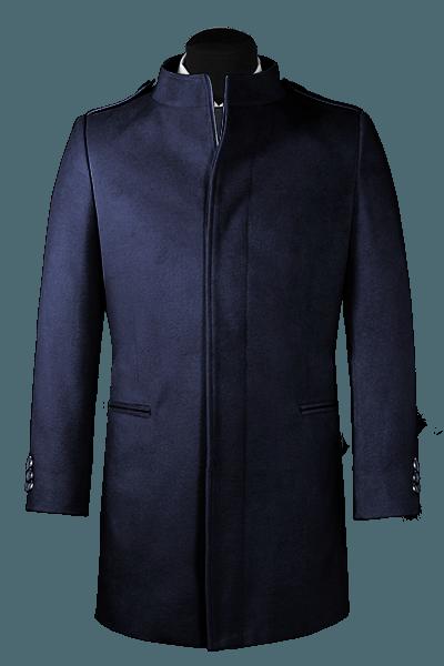 Cappotto a collo alto blu di lana