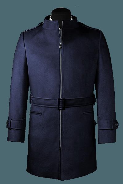Manteau bleu avec ceinture en laine