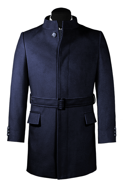 Blauer Stehkragen Mantel aus Wolle