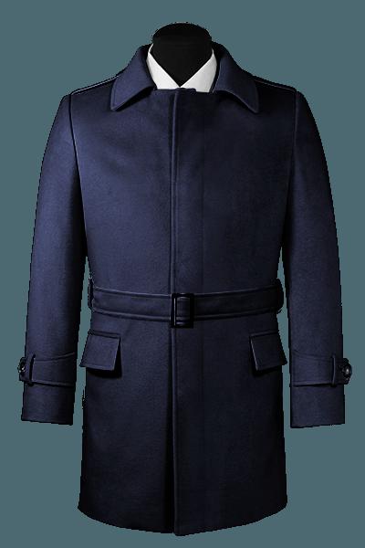 Blue belted Wool Coat