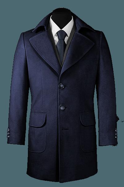 Cappotto blu di lana