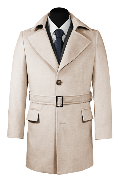Beige Mantel mit Gürtel