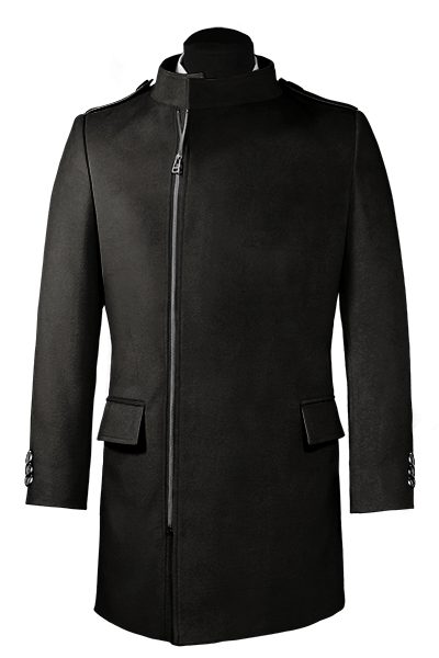 Black double breasted stand up collar Wool Coat