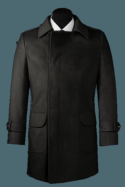 Schwarzer Zweireihiger Mantel aus Wolle