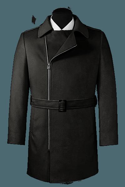 Cappotto doppiopetto con cintura nero di lana