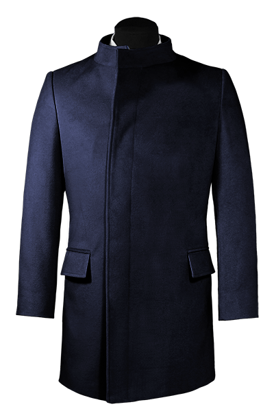 Blue double breasted stand up collar Wool Coat