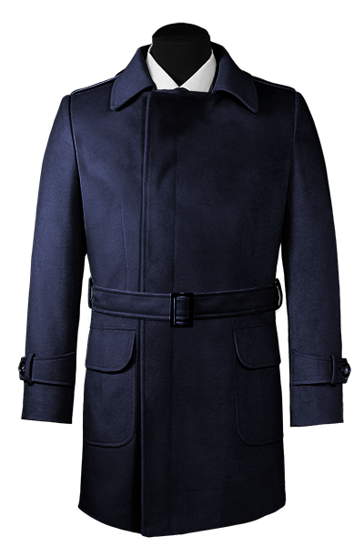 Blue double breasted belted Wool Coat