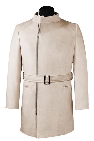 Beige double breasted belted Coat