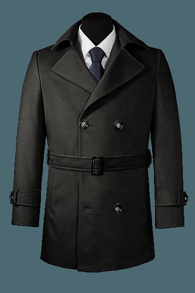 Trois-quart noir croisé avec ceinture en laine