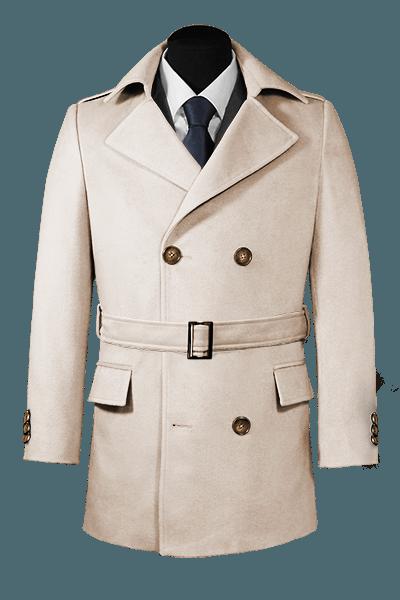 Beige belted Pea coat