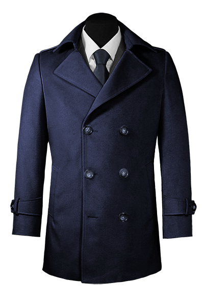 Blaue Zweireihige Cabanjacke aus Wolle