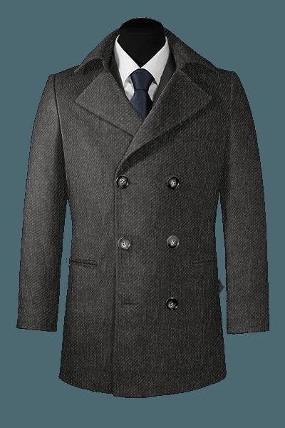 Graue Zweireihige Cabanjacke aus Wolle