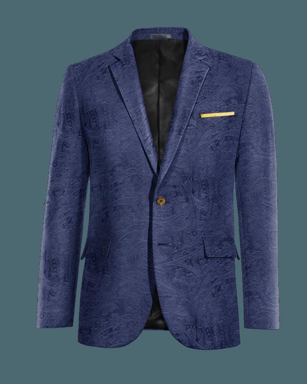 Blaues paisleymuster Sakko aus Samt