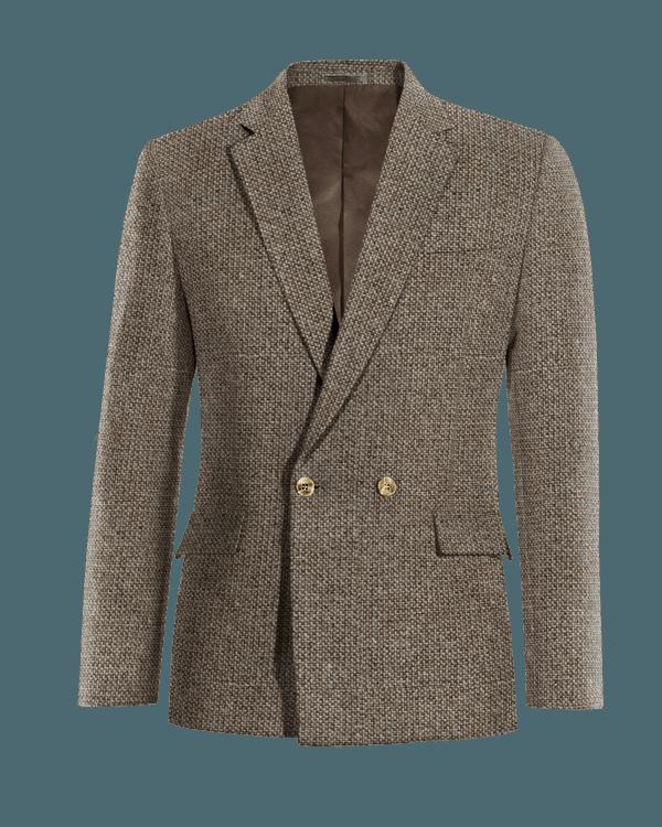 Veste marron croisée 100% laine