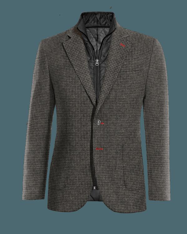 Graues hahnentritt Sakko aus Wolle mit herausnehmbarem Brusteinsatz