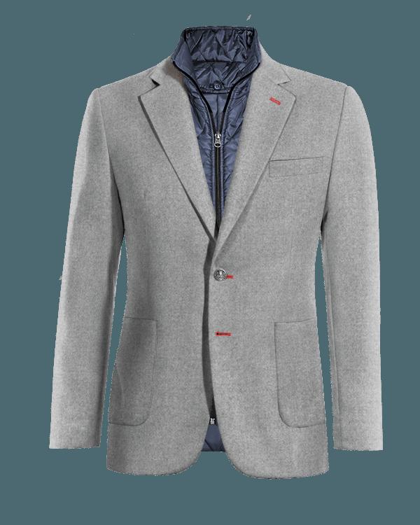 Veste grise 100% laine avec gilet amoviblet