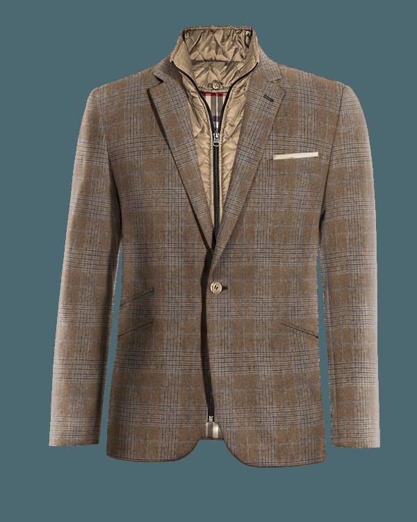 Veste marron à carreaux 100% laine avec gilet amoviblet