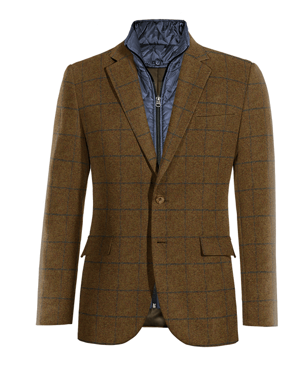 Brown checked tweed removable gilet Blazer