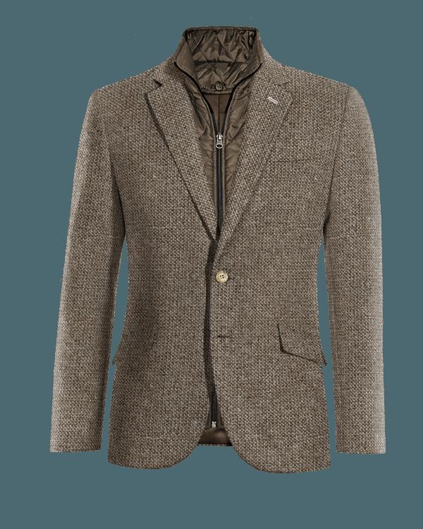 Veste marron 100% laine avec gilet amoviblet