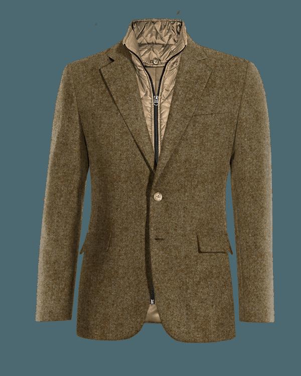 Braunes Sakko aus Wolle mit herausnehmbarem Brusteinsatz