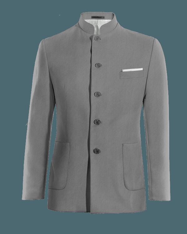 Graues stehkragen Sakko aus Wolle