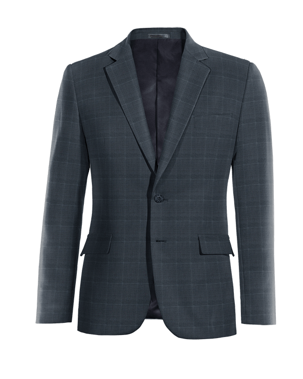 Blue checked Merino wool Blazer