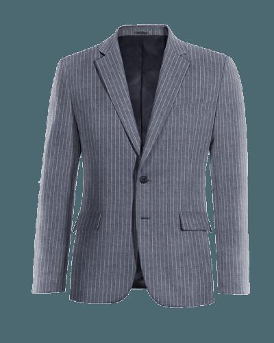 Blaues gestreiftes Sakko aus Leinen