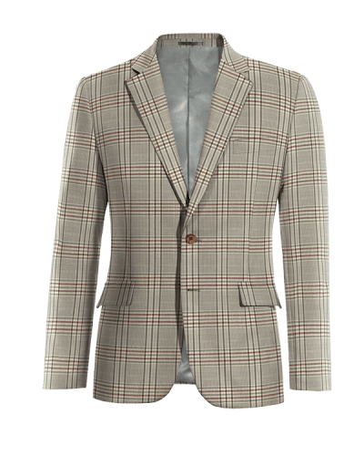Braunes kariertes Sakko aus Wolle