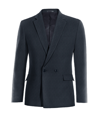 Blue double breasted striped Merino wool Blazer