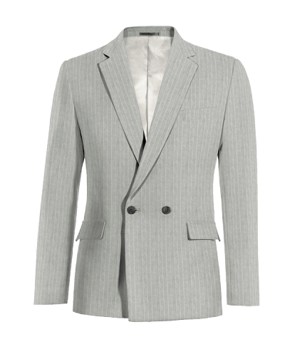 Grey double breasted striped linen Blazer
