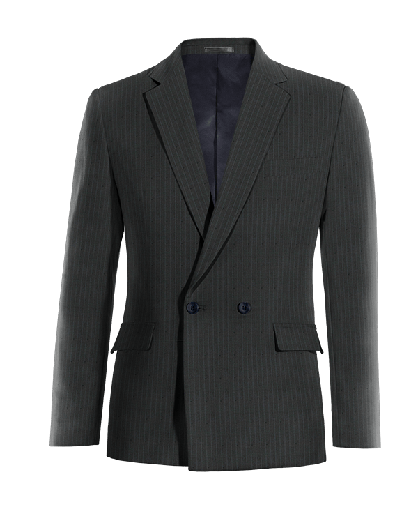 Blue double breasted striped wool Blazer