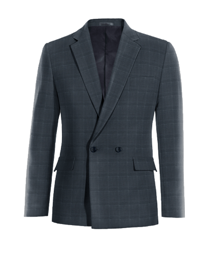Blue double breasted checked Merino wool Blazer