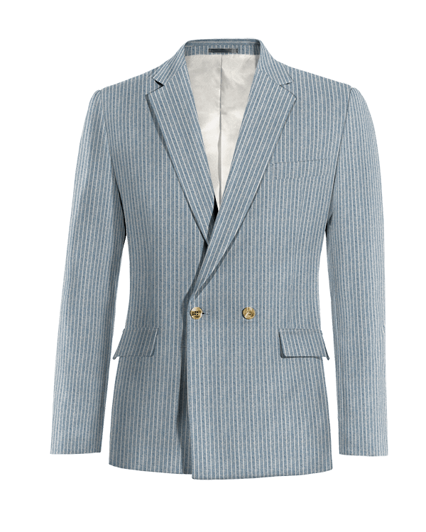 Blue double breasted striped linen Blazer