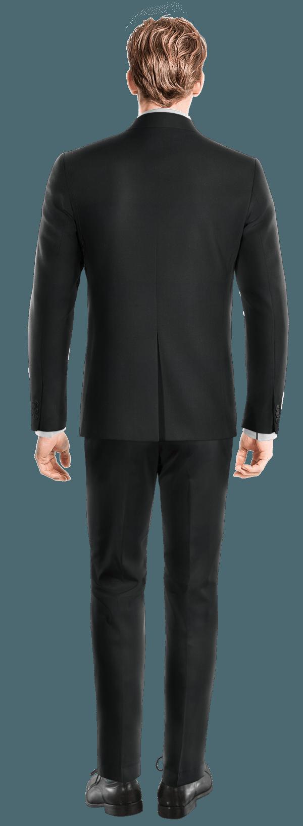 Schwarzes zweireihiges Sakko aus Merinowolle
