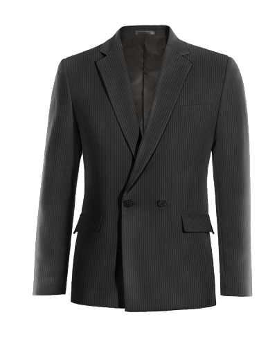 Black double breasted striped wool Blazer