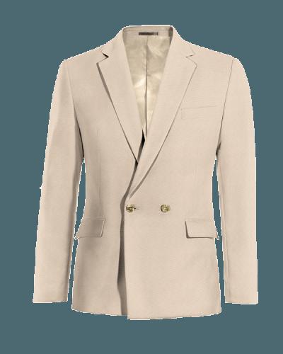 Beige zweireihiges Sakko aus Wolle