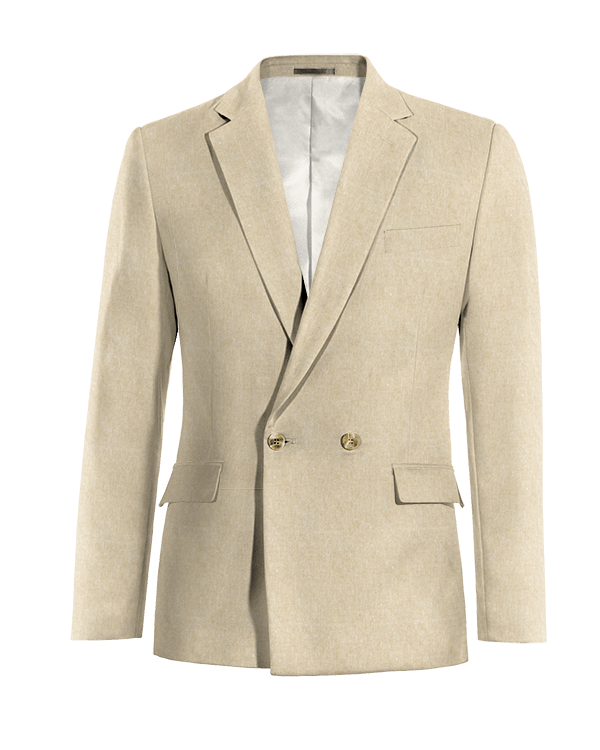 Beige double breasted linen Blazer