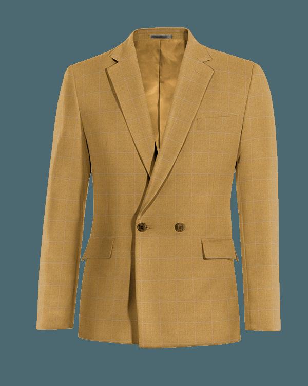 Veste marron croisée à carreaux 100% laine