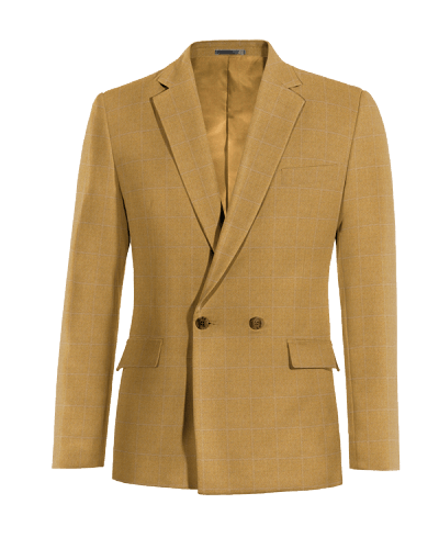 Brown double breasted checked wool Blazer