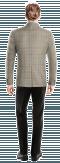 Braunes kariertes zweireihiges Sakko aus Wolle-Ansicht Rückseite