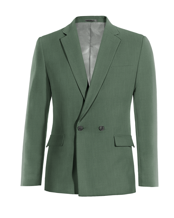 Green double breasted wool Blazer