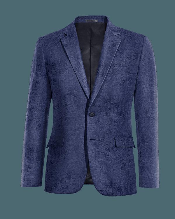 Veste bleue paisley en Velours