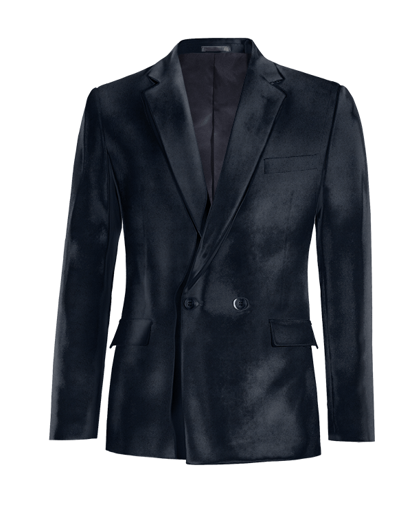 Blue double breasted velvet Blazer