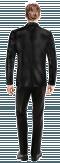 Schwarzes zweireihiges Sakko aus Samt-Ansicht Rückseite