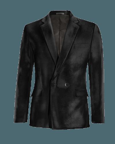 Schwarzes zweireihiges Sakko aus Samt